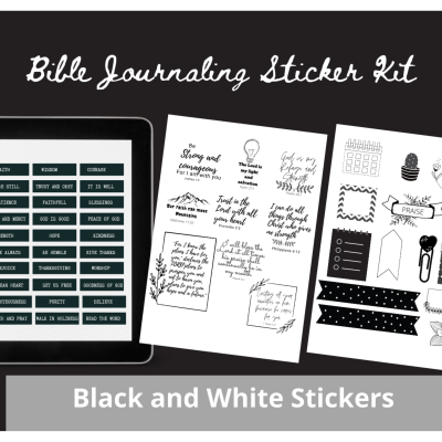 black and white bible journaling stickers